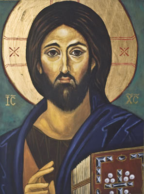 Icon painted on wood using oil paint and gilded with imitation gold leaf