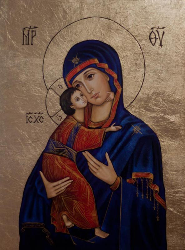 Icon painted with oil paint on wood, gilded with imitation gold leaf