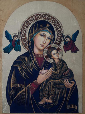 Icon painted on wood with oil paint, gilded with imitation gold