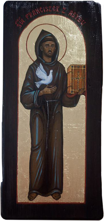 Icon painted with oil paint on wood and gilded with imiatation gold